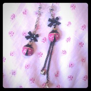 Betsey Johnson mismatched pink ladybug earrings